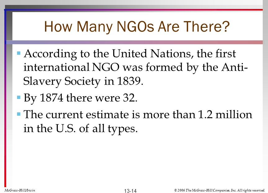How Many NGOs Are There According to the United Nations, the first international NGO was formed by the Anti-Slavery Society in 1839.