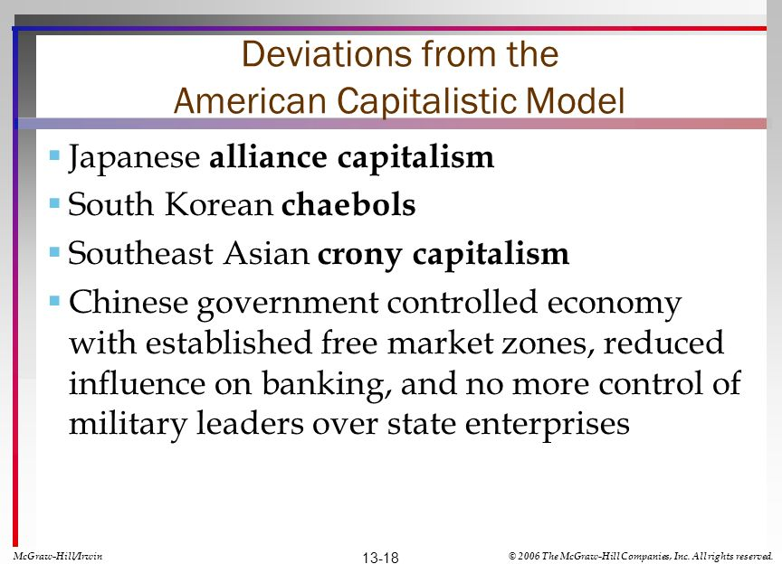 Deviations from the American Capitalistic Model