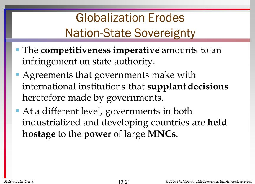 Globalization Erodes Nation-State Sovereignty