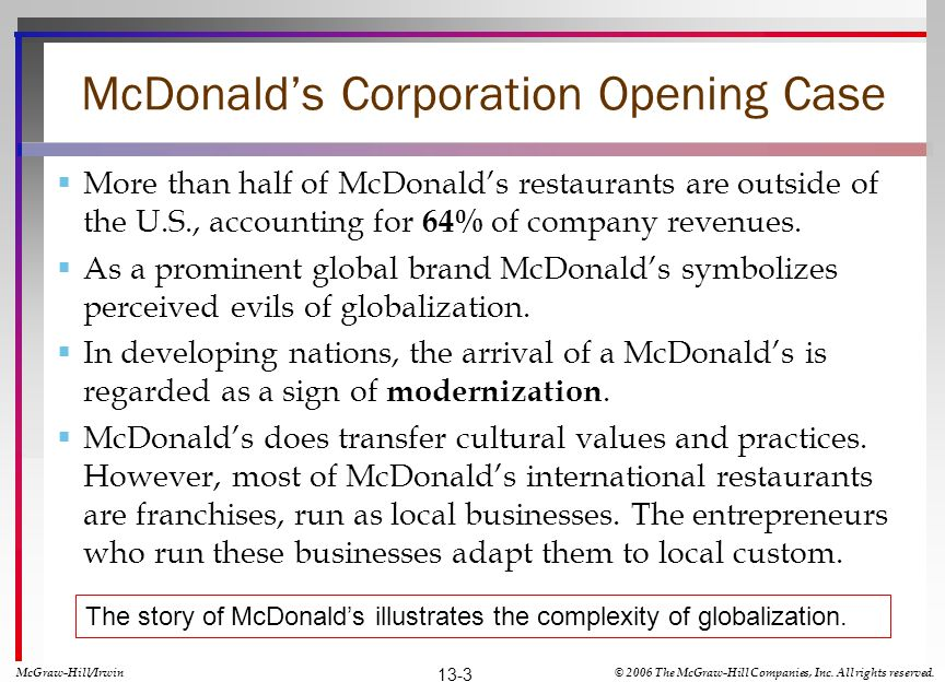 McDonald's Corporation Opening Case