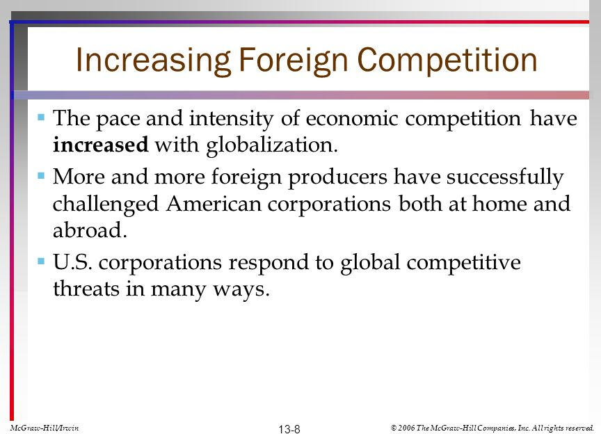 Increasing Foreign Competition