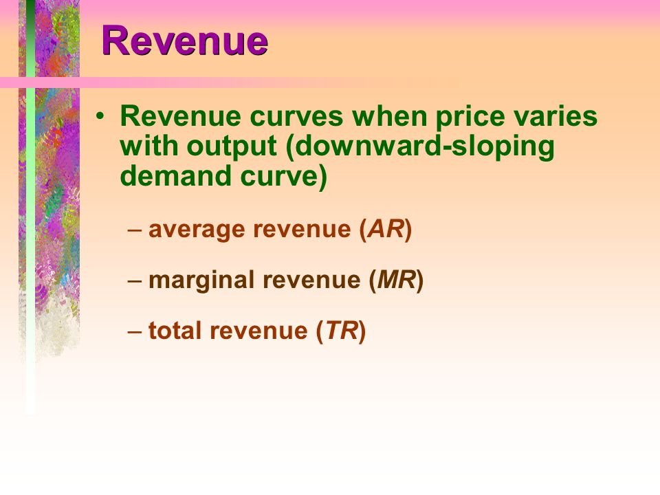 Revenue Revenue curves when price varies with output (downward-sloping demand curve) average revenue (AR)