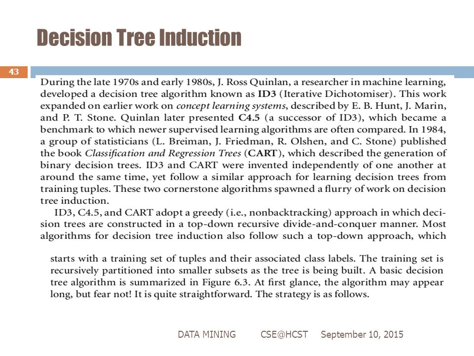 Data Mining - Decision Tree Induction
