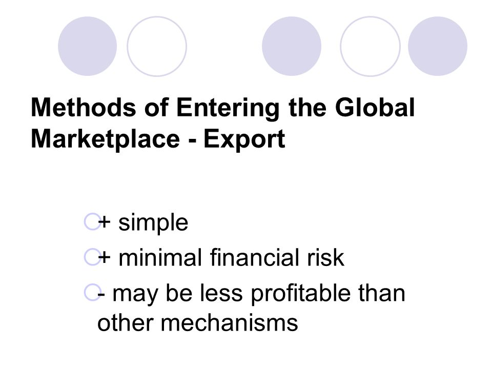 Methods of Entering the Global Marketplace - Export