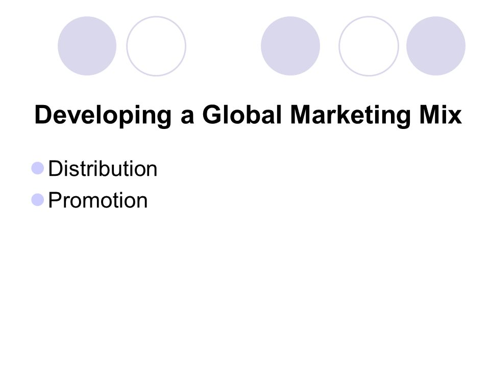 Developing a Global Marketing Mix