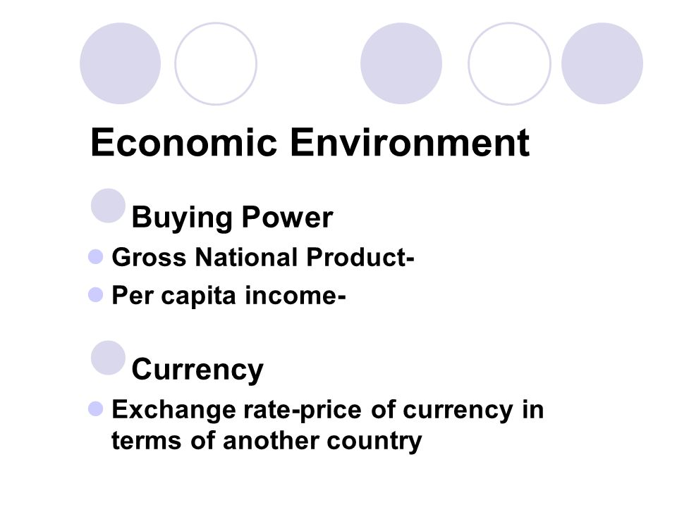 Economic Environment Buying Power Currency Gross National Product-
