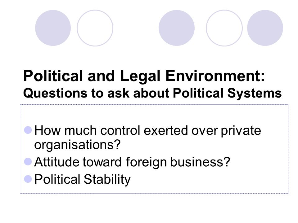 Political and Legal Environment: Questions to ask about Political Systems