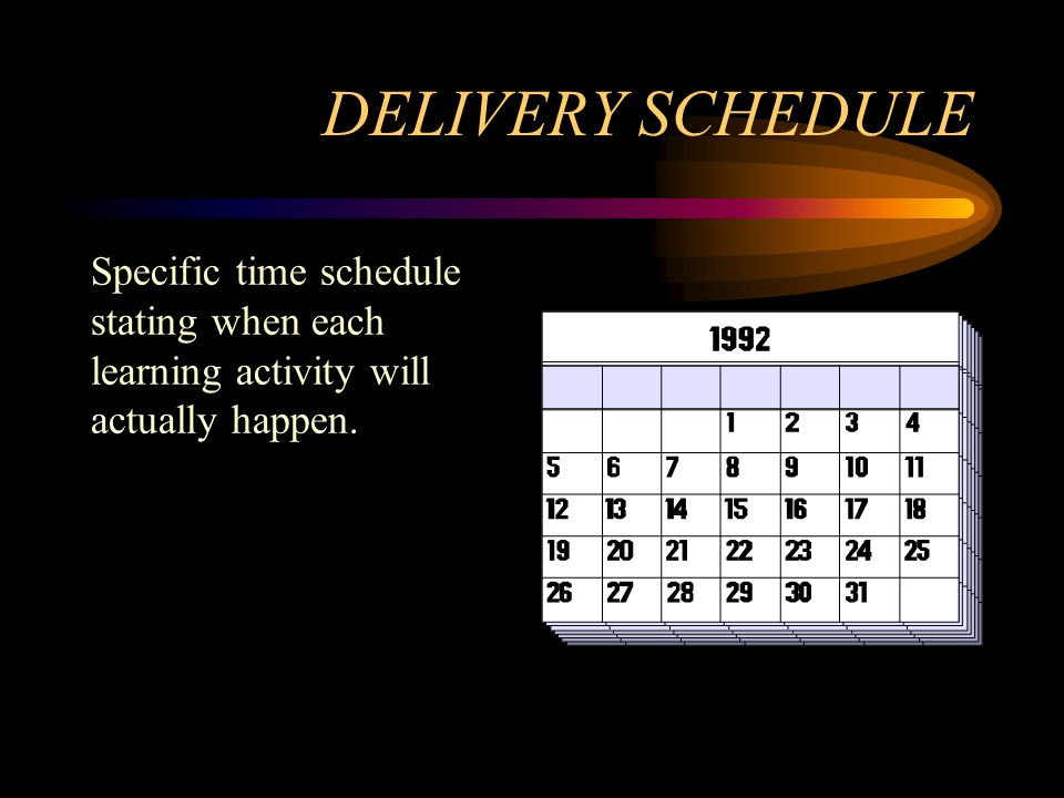 DELIVERY SCHEDULE Specific time schedule stating when each learning activity will actually happen.