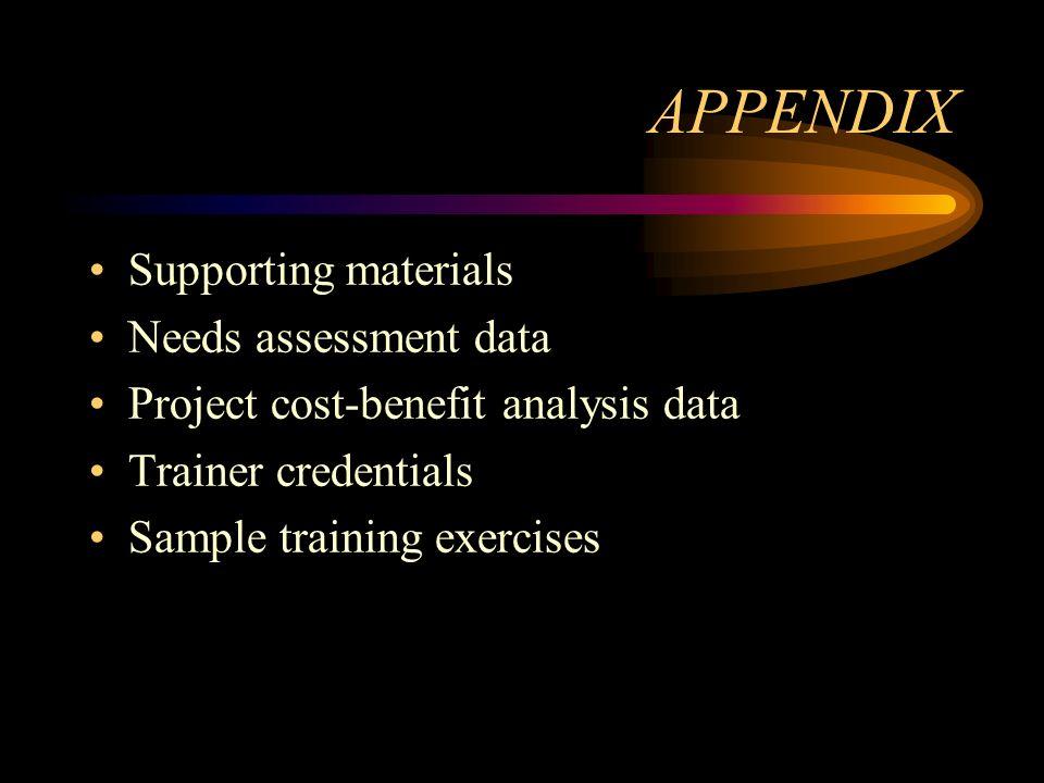 APPENDIX Supporting materials Needs assessment data