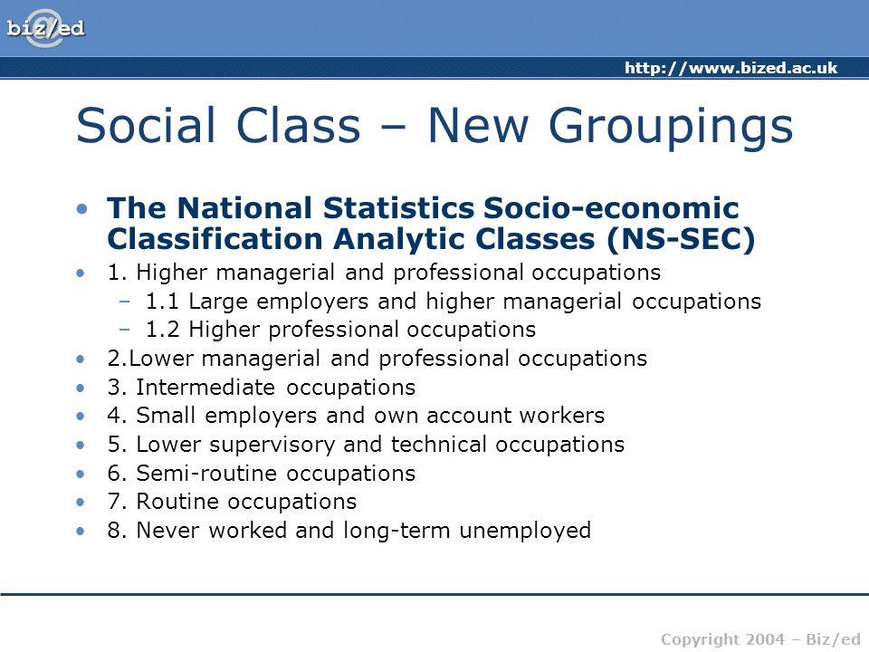 Social Class – New Groupings
