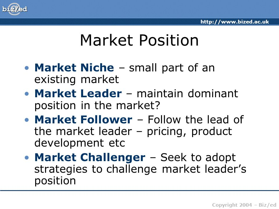 Market Position Market Niche – small part of an existing market