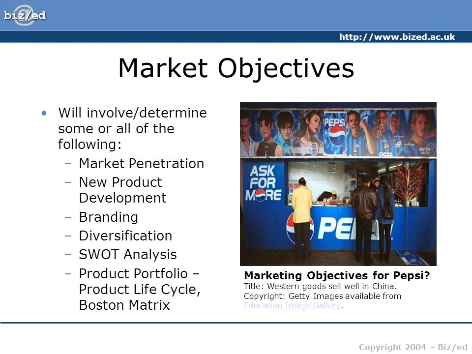 Market Objectives Will involve/determine some or all of the following: