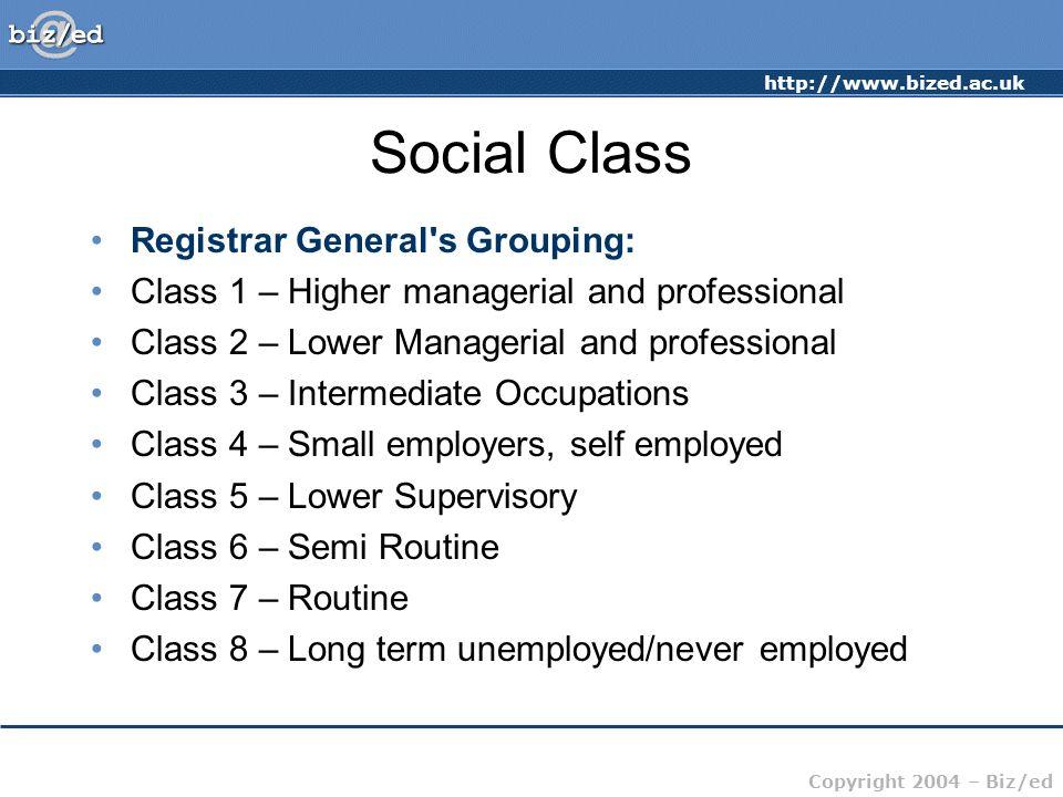 Social Class Registrar General s Grouping: