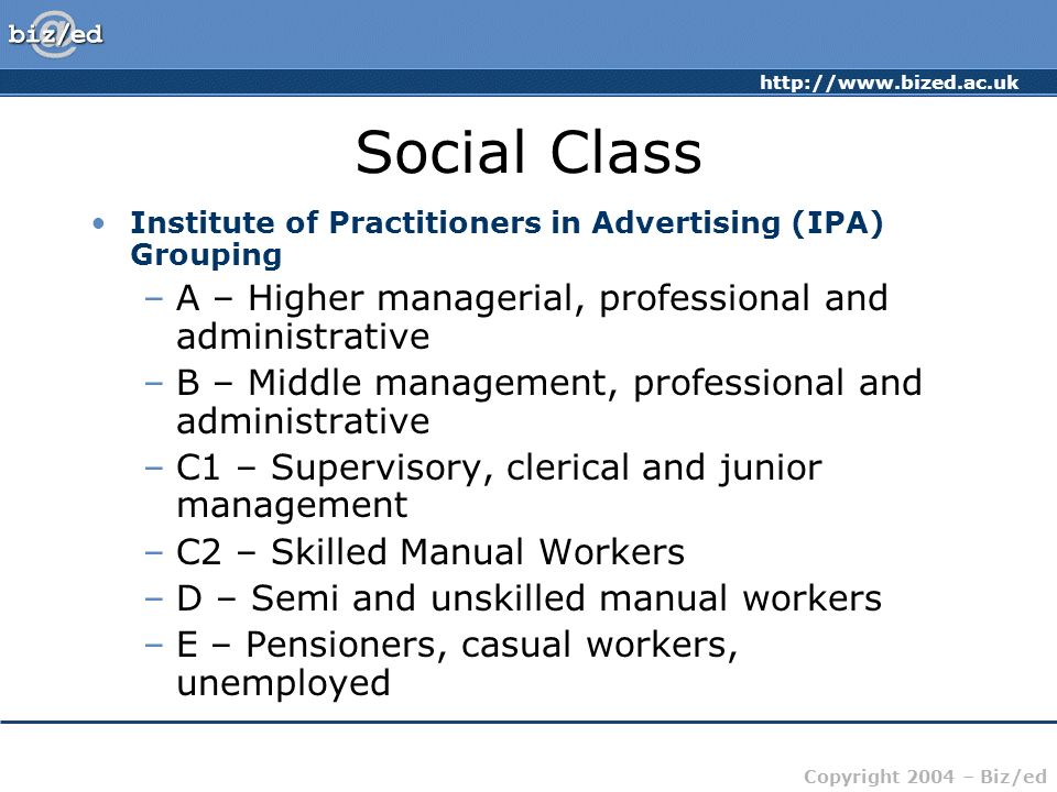 Social Class A – Higher managerial, professional and administrative