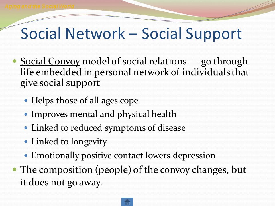 the benefits of social support to the aging individuals And people 85 and older have the highest suicide rate of any age group,   colorado is the best state for aging  care visits, which older people are more  likely to take advantage of,  like all generations, older adults experience  positive mental health when they perceive that they have social support and.