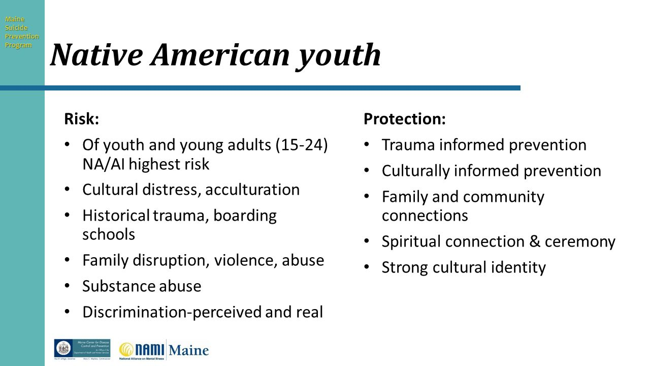 youth suicide in native americans Categories of us youth, this paper will define the nature and trends of suicide  among this nation's original ethnic groups, particular tribes of american indians.