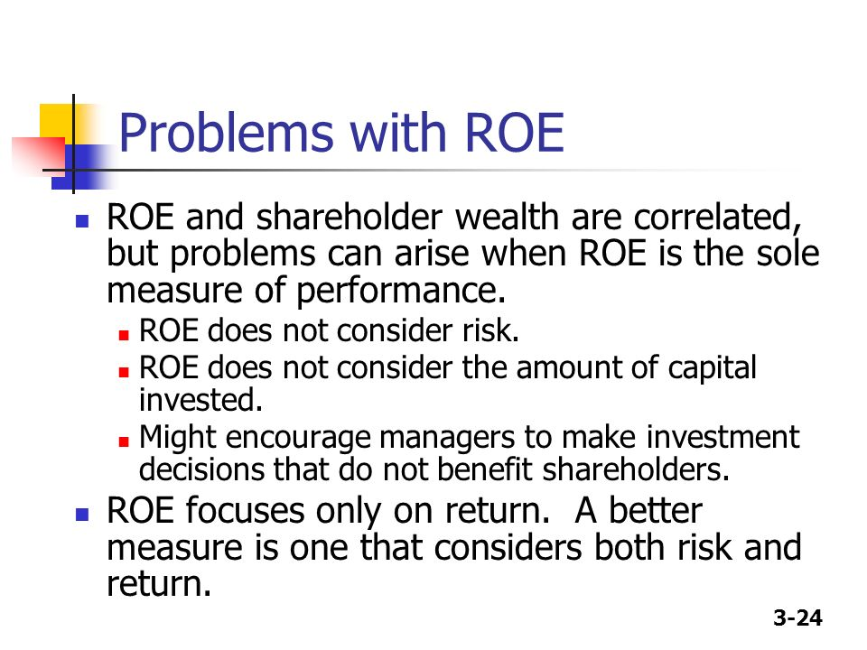 Problems with ROE ROE and shareholder wealth are correlated, but problems can arise when ROE is the sole measure of performance.