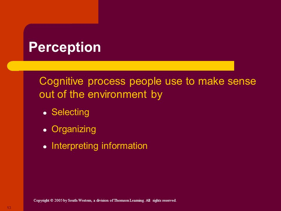 Perception Cognitive process people use to make sense out of the environment by. Selecting. Organizing.