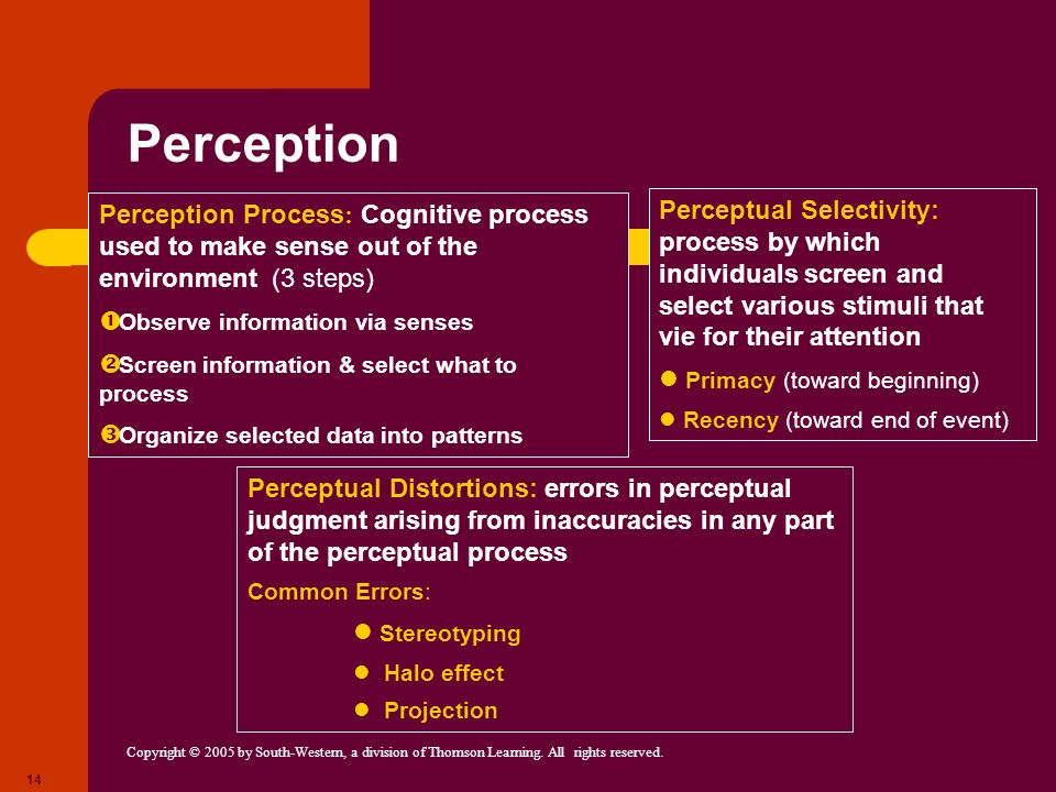 Perception Perception Process: Cognitive process used to make sense out of the environment (3 steps)