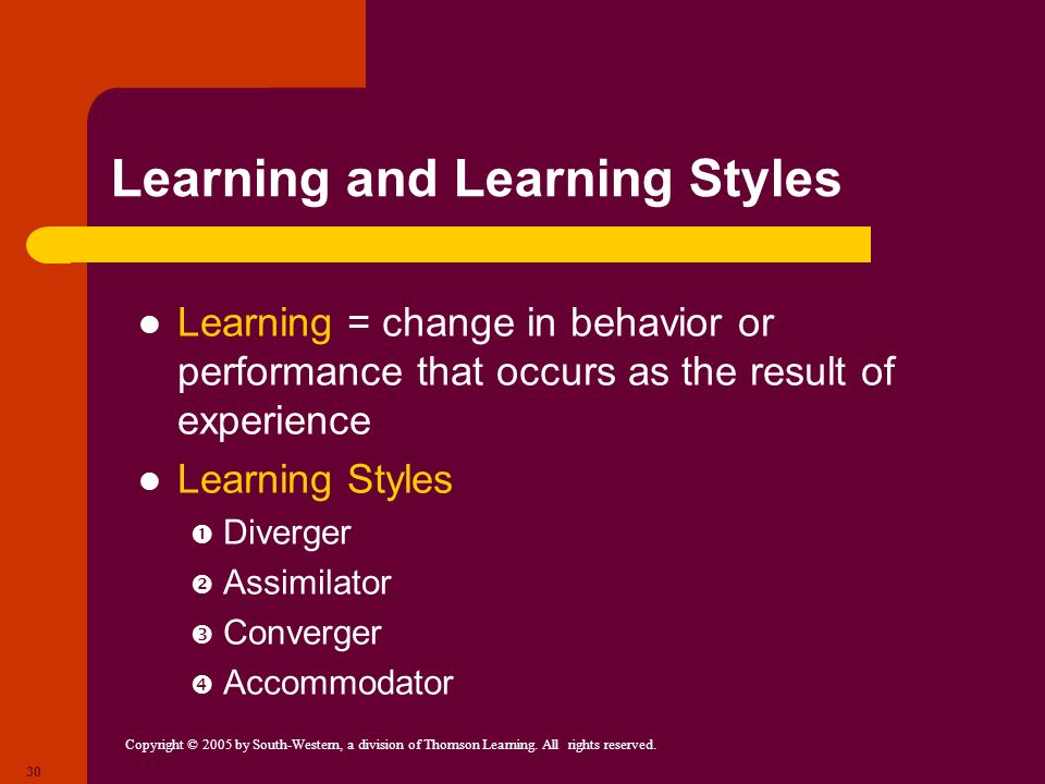 Learning and Learning Styles