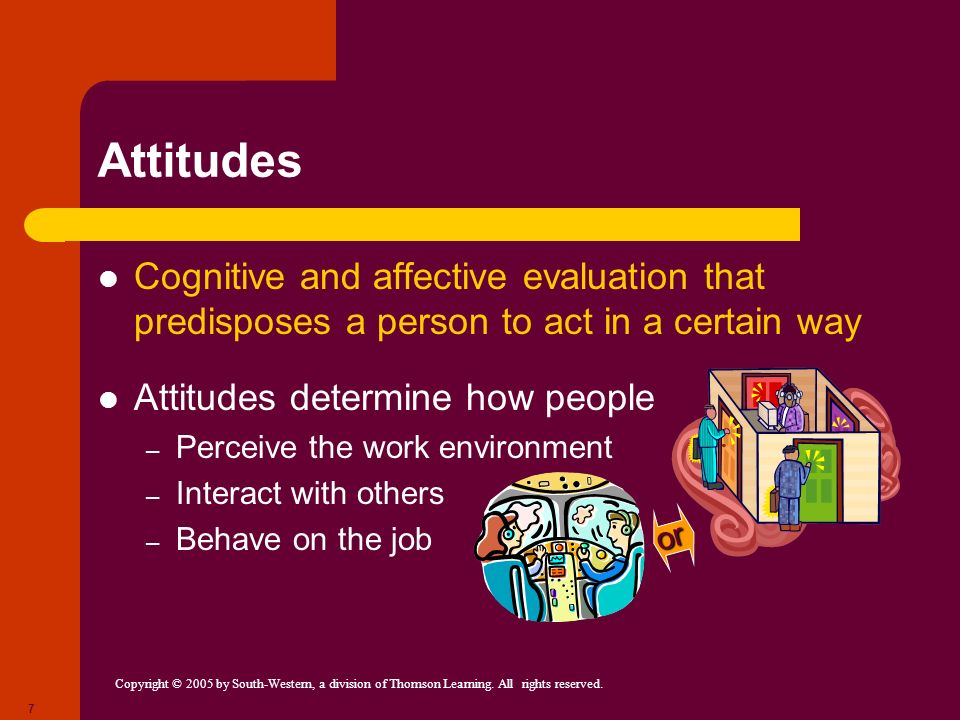 Attitudes Cognitive and affective evaluation that predisposes a person to act in a certain way. Attitudes determine how people.