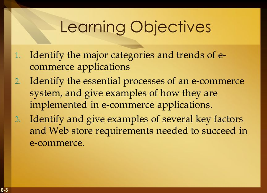 Learning Objectives Identify the major categories and trends of e-commerce applications.