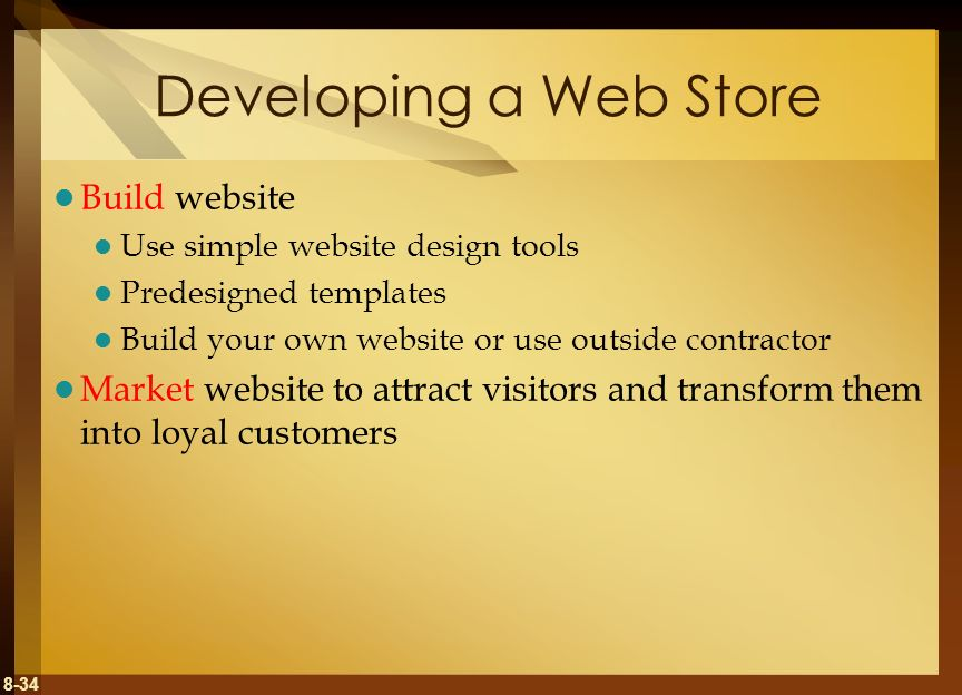 Developing a Web Store Build website