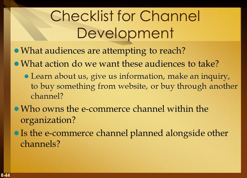 Checklist for Channel Development