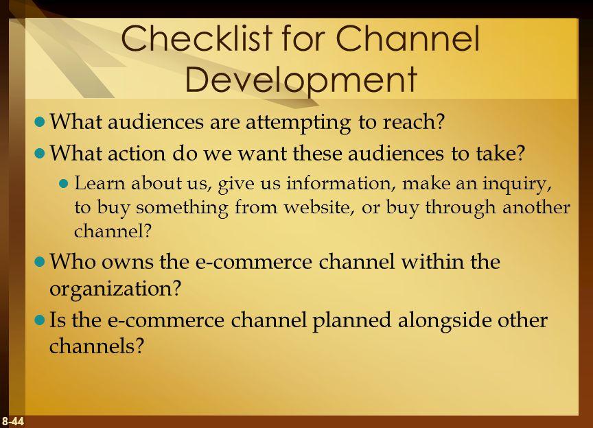 Checklist for Channel Development