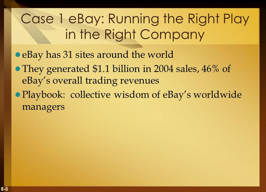 Case 1 eBay: Running the Right Play in the Right Company
