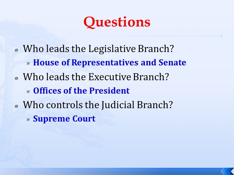 Questions Who leads the Legislative Branch