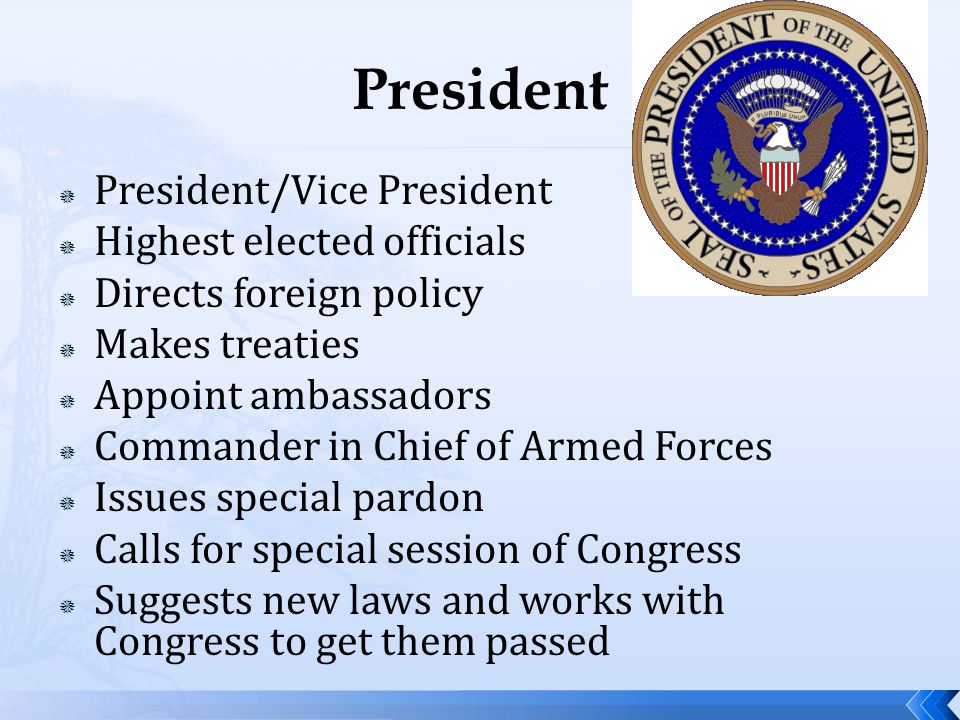 President President/Vice President Highest elected officials