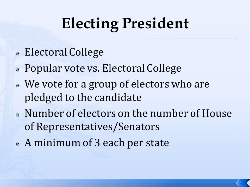 Electing President Electoral College