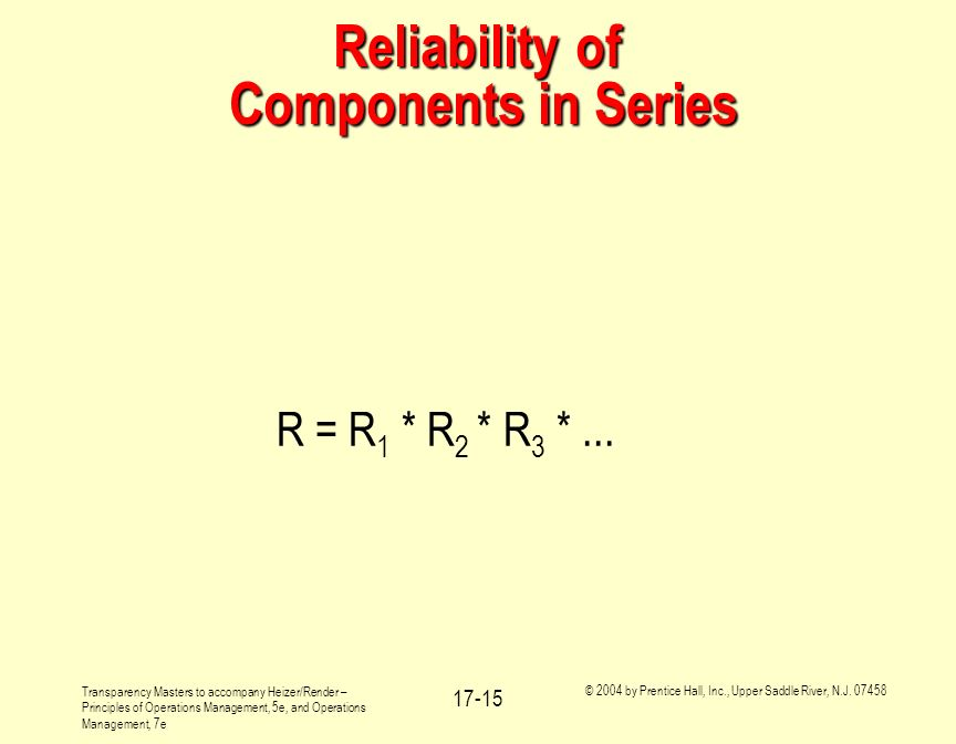 Reliability of Components in Series