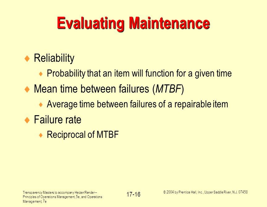 Evaluating Maintenance