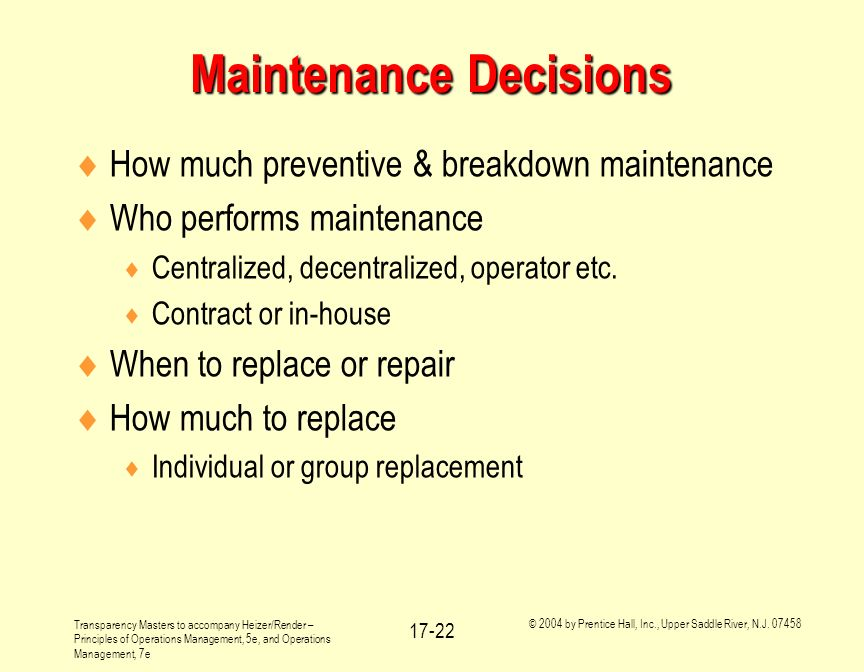 Maintenance Decisions