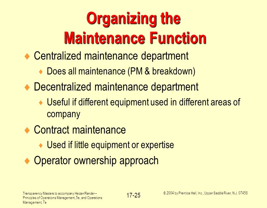 Organizing the Maintenance Function
