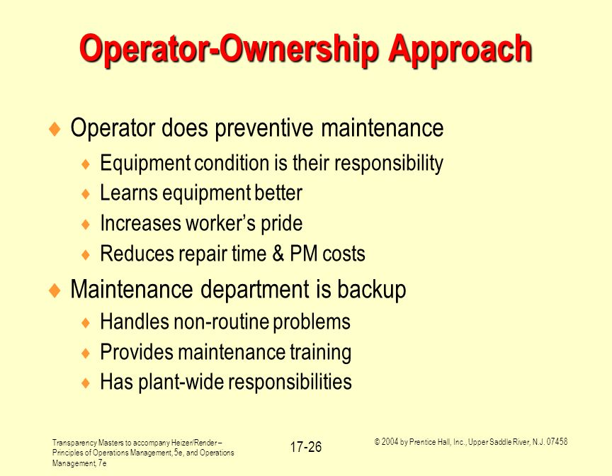 Operator-Ownership Approach
