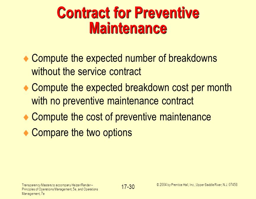 Contract for Preventive Maintenance