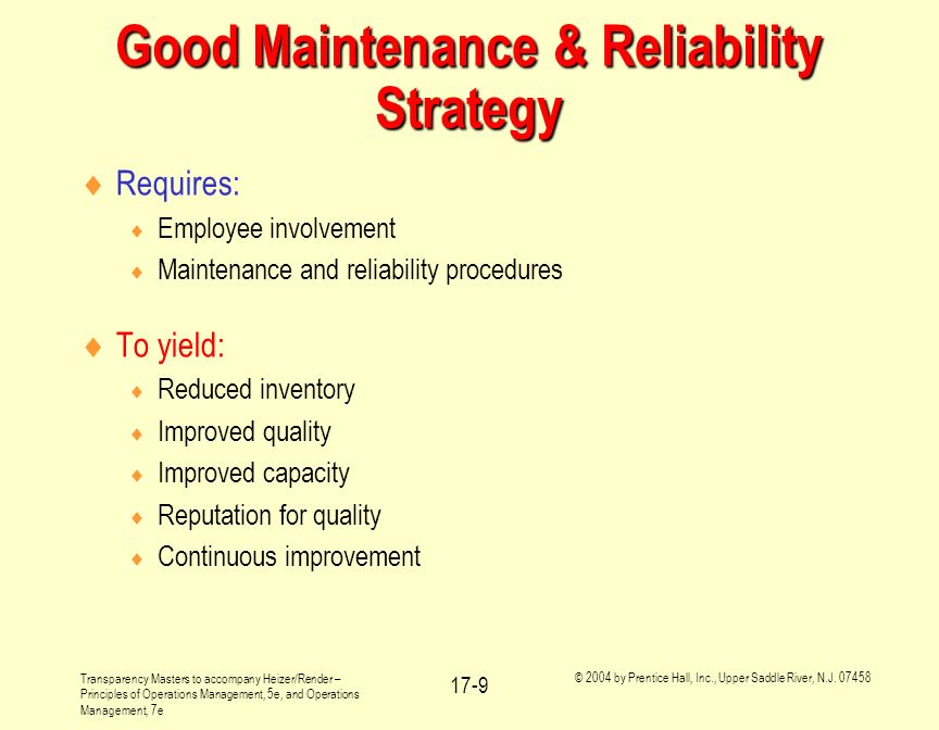 Good Maintenance & Reliability Strategy