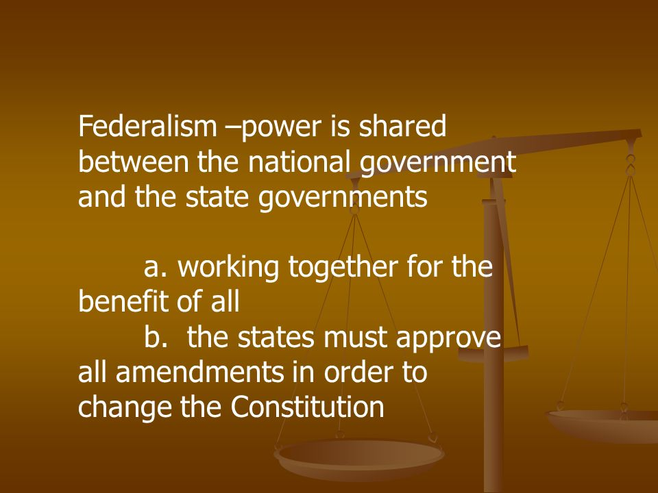 How is the power to govern shared under the principle of federalism?