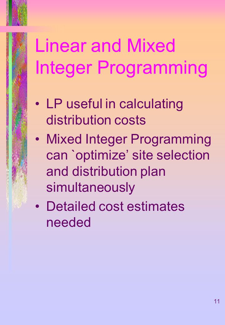 Linear and Mixed Integer Programming