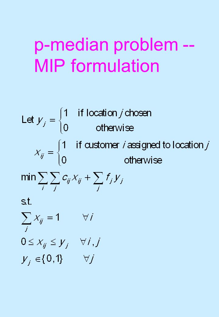 p-median problem -- MIP formulation