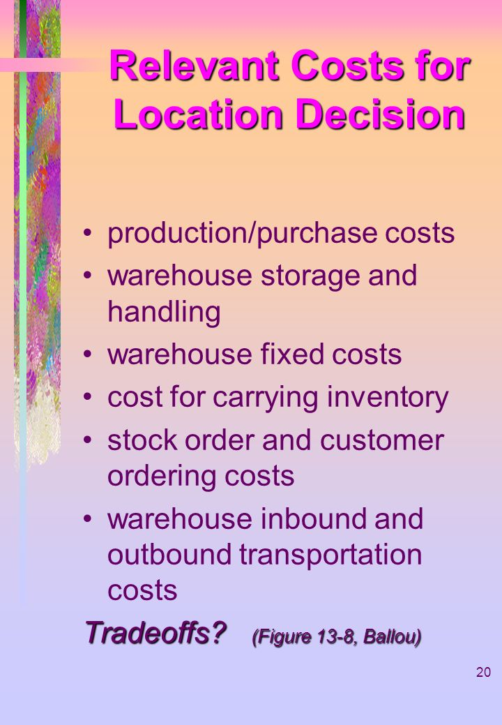 Relevant Costs for Location Decision