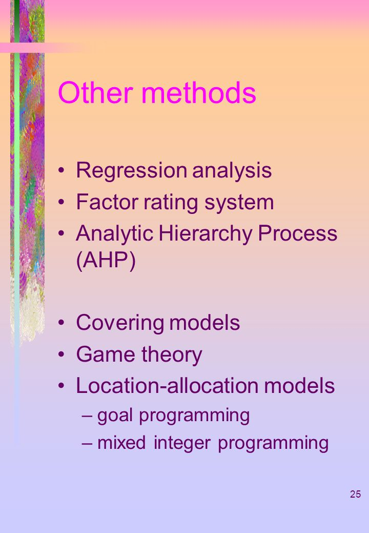 Other methods Regression analysis Factor rating system