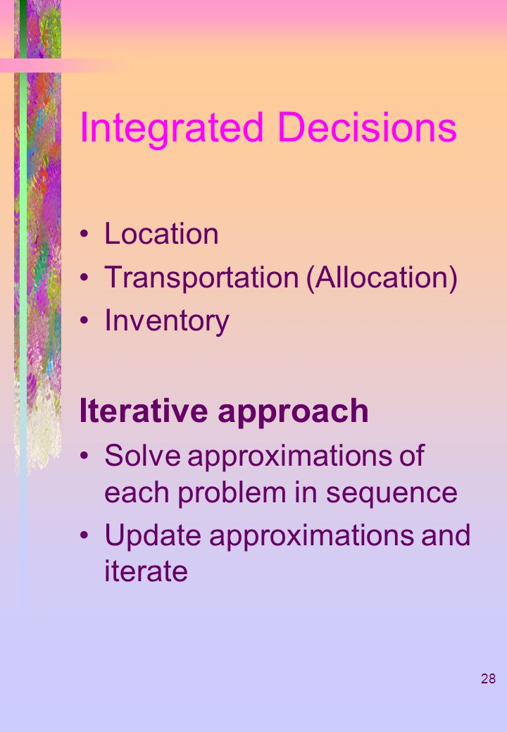 Integrated Decisions Iterative approach Location