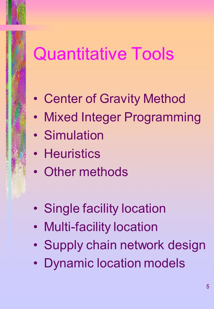 Quantitative Tools Center of Gravity Method Mixed Integer Programming