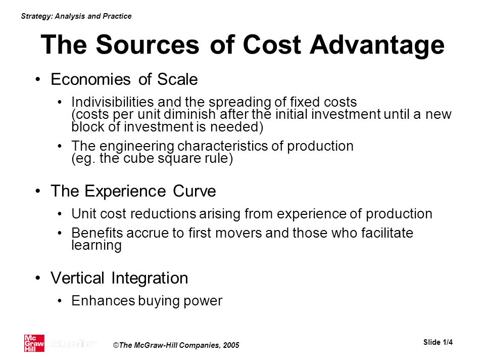 The Sources of Cost Advantage