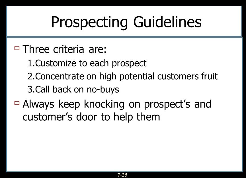 Prospecting Guidelines
