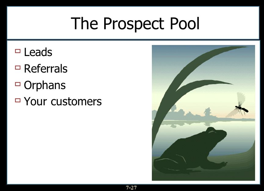 The Prospect Pool Leads Referrals Orphans Your customers